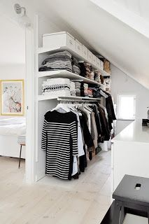 Simple idea for adding a closet behind a wall with an angled ceiling.