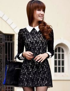 Women Korean Style Contrast Pointed Collar Lace Dress - Item 692870 at Eastclothes.com