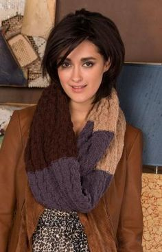 Neutral Colour Cowl Free knitting Pattern from Red heart Yarns