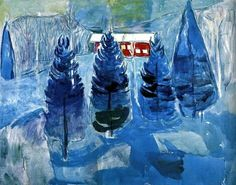 Red house and spruces, by Edvard Munch, 1927