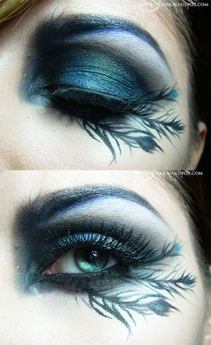 Black peacock make up detail shot. Peacock Makeup, Bird Makeup, Love Makeup, Makeup Art, Makeup Eyeshadow, Beauty Makeup, Skull Makeup, Crazy Makeup, Beauty Tips