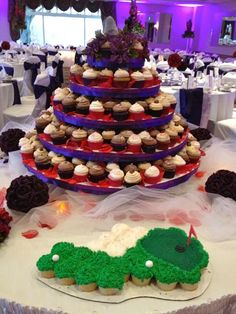 Golf Course Groom's Cake and Cup Cakes.  Professional Pittsburgh Wedding Disc Jockey DJ Rockin Steve - Ashley and Jeff Celebrate Marriage At South Hills Country Club