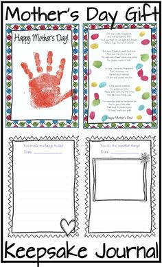 Beautiful Mother's Day Gift! Have children print their hands and fingerprints around the poem. Very special keepsake journal for Mom to record memories! ($)