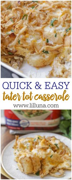 Tater Casserole - a simple, quick and tasty dish with a tater tot base, creamy and cheese center, and a fried onion topping! Cheesy Tater Tot Casserole, Cheesy Tater Tots, Hamburger Casserole, Chicken Casserole, Tater Tot Recipes, Casserole Recipes, Potato Recipes, Brunch Casserole, Seafood Recipes