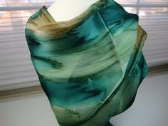 Emerald Eyes Hand Dyed Silk Scarf by MommaGoddess on Etsy, $30.00