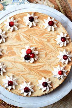 Gluten-Free Maple + Molasses Pumpkin Swirled Cheesecake.