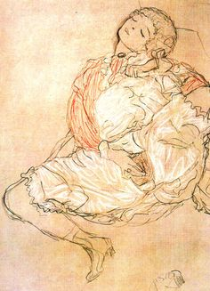 Gustav Klimt: A Woman Pleasing Herself (Frau bei der Selbstbefriedigung)
