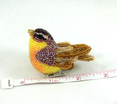 Bird Ornament Fall Autumn Thanksgiving Decor Beaded Clip on Figurine Beaded Art by Meredith Dada