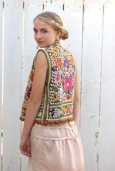 Vintage Boho Embroidery Vest - Coachella Inspiration - Music Festival Style #streetstyle