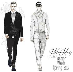 Les Hommes and Diesel: Male Fashion Illustrations {Milan Fashion Week Spring 2014}, Fabulous Doodles Blog
