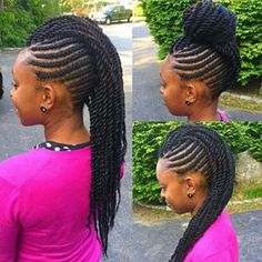 Tai got her again The entire style was done with re-used Marley hair that she purchased from the Kinky Twists I did on her months ago. Braided Mohawk Hairstyles, Flat Twist Hairstyles, African Braids Hairstyles, Teen Hairstyles, Black Hairstyles, Mohawk Braid, Carrot Hairstyles, Braided Mohawk Black Hair, Braid Ponytail