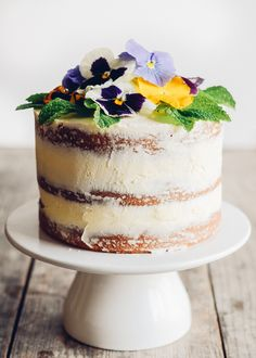 Triple Lemon Layer Cake with Edible Flowers + some ideas for cooking with edible flowers on Buttered Side Up!