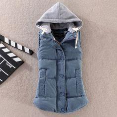 2016 Autumn Winter Fashion All-match Cotton Vest Women Patchwork Sleeveless Hooded Collar Casual Coat Colete Feminino Waistcoat