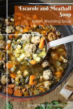 Also known as Italian Wedding Soup, the perfect one pot meal! #italianweddingsoup #escaroleandmeatballsoup