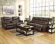 Linebacker DuraBlend Contemporary Espresso Color Leather Reclining Loveseat w/Console