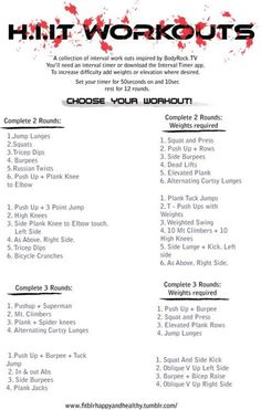 HIIT Workout: One of the fastest and most effective workouts you can do! Find more like this at gympins.com Hiit Workouts With Weights, Hit Workouts At Home, Interval Training Workouts, 30 Minute Hiit Workout, Cardio Hitt Workout, At Home Circuit Training, Power Lifting Workouts, Cardio Workouts At Home, Workout Exercises