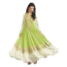 Party  Wear Embroidered Georgette Green Anarkali Salwar Suit - EBSFSKAH376002B ( EBSFSK37 )