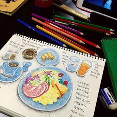 아침에 먹은 <교토의 아침> 색연필을 쓰고싶다는 생각에 스케치도 안하고 슥슥슥. 이거 생각보다 재밌어요. 혼자 다니니 시간이 넘쳐서 이런것도 할수있군요. イノダコーヒの<京の朝食>。1人旅なので時間がたくさんあってこんな事までできますね。 #교토 #이노다커피 #아침식사 #브런치 #교토의아침 #정원식사 #일러스트 #색연필 #여행스케치 #kyoto #inodacoffee #breakfast #morningofkyoto #garden #illustration #colorpencil #travel #京都 #イノダコーヒ #京の朝食 #ブランチ #庭の食事 #イラスト #色鉛筆 #旅行 #旅 #旅の絵