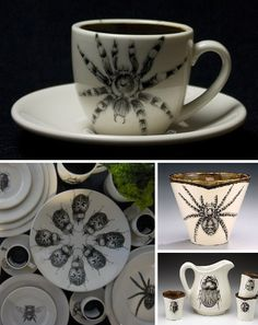 Laura Zindel's surreal ceramics combine high-quality home dishware with faux historical hand-drawn imagery inspired by Victorian Cabinets of Curiosity.