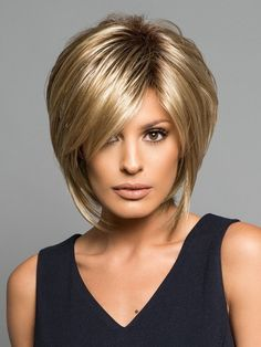 Noriko Reese is a short wig, a refined and sassy tousled bob with choppy layers and side fringe