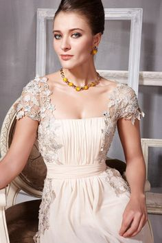 Embroidered Beige Chiffon Evening Dress (56801) - MADE to ORDER |