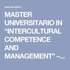 "MASTER UNIVERSITARIO IN ""INTERCULTURAL COMPETENCE AND MANAGEMENT"" – CSI"