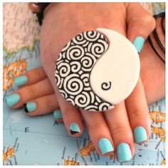 Yin and Yang Ring Ceramic  bold oversize handmade by StudioLeanne, $32.00