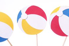 Beach Ball Cupcake Toppers  Beach Cupcake by MakeItMerryShop