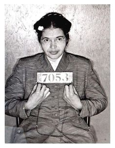 Rosa Parks' booking photo upon being arrested for refusing to give up her bus seat to a white passenger in 1955.