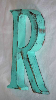 Wooden Letter R Wedding Cake Topper Birthday Cake Topper Painted Key West Turquoise or you choose on Etsy, $28.00