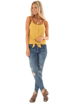 Mustard Ribbed Tank Top with Front Tie front full body Red Wedges, Full Body, Mustard, Tie, Tank Tops, Pants, Fashion, Trouser Pants, Moda