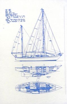 Blueprint to a full keeled yawl with a centerboard.  This kind of boat is old fashioned.  Newer boats are more about the condo inside and less about stout hull forms.