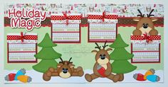 Premade Scrapbook Pages 12x12 Layout Paper Piecing Christmas Santa Reindeer Handmade Elite4U. $38.99, via Etsy.