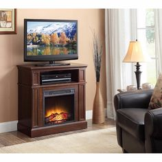 Details About Electric Fireplace TV Stand Entertainment Media Console  Storage Cabinet Espresso | Electric Fireplace Tv Stand, Fireplace Tv Stand  And ...