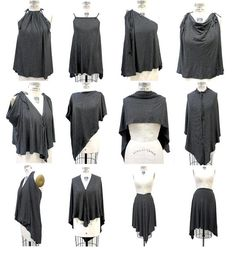 Unique Black Gray Convertible Clothing,Gray Black Striped Jersey Top, Women's Infinity Top, Multi-Style Convertible Jersey Blouse and Skirt