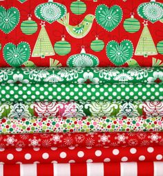Christmas Fabric by Michael Miller Holiday Fabric Bundle Ornaments in Red 8 Fat Quarters