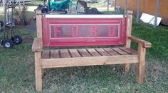 recycled garden bench, I reeeally must find a Ford tailgate Soon!