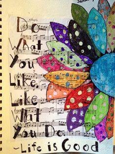 Could do this with Gelli prints on top of sheet music! So colorful and fun. Polka dot flowers painted on sheets of music