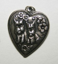 Scottie Dogs and Flowers Vintage Puffy Heart Charm