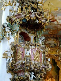 What a gorgeous church. Would you ever expect to find this in the German countryside? We were amazed. The splendor of Rococo architecture, Wies Church, Germany (by MichaelDuquetteFowler). Baroque Architecture, Historical Architecture, Beautiful Architecture, Beautiful Buildings, Architecture Details, Interior Architecture, Marie Antoinette, Versailles, Rococo Style