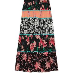 Gucci Patchwork Print Ruffle Skirt (€1.795) ❤ liked on Polyvore featuring skirts, flouncy skirt, frilly skirt, flounce skirt, gucci skirt and gucci