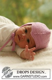 Fairy Rose - Knitted bonnet in stocking st for baby and children in DROPS Merino Extra Fine - Free pattern by DROPS Design Baby Knitting Patterns, Baby Boy Knitting, Knitting For Kids, Baby Patterns, Hand Knitting, Drops Design, Baby Helmet, Drops Baby, Magazine Drops
