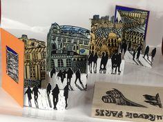 'Au Revoir Paris' artist's book using linoprint