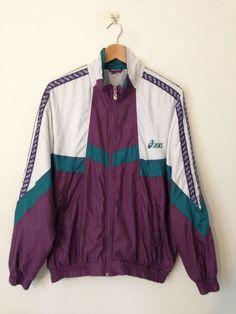 Vintage Asics Shell Suit Jacket White/Purple Large