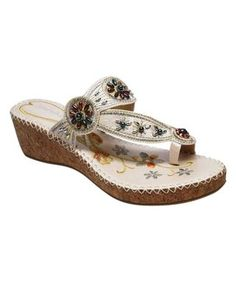White Floral Bead-Embroidered Sandal