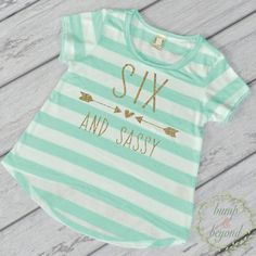Birthday Shirt for Girls- This adorable high-low short sleeve top makes a great birthday outfit or photo prop! It features an all-over stripe print for a fun chic look. It's made of light weight jerse