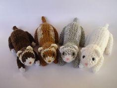 Crochet ferrets! Ferrets Care, Cute Ferrets, Cute Crochet, Kawaii Crochet, Crochet Yarn, Crochet Toys, Yarn Bombing, Hamster, Ferret Toys