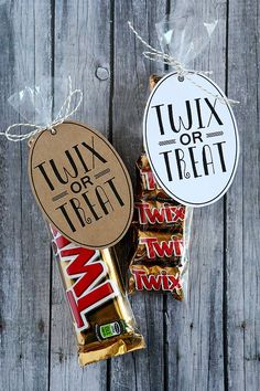 Some people say trick or treat but for those of us that love Twix, we say it a little different. Twix or Treat! Plus, these sure make a cute Halloween gift for the kid's teachers, friends and neighbor