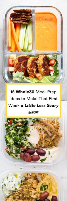 Breakfast, lunch, and dinner ideas to help you make it through the month.  #greatist https://greatist.com/eat/whole30-meal-prep-ideas