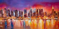 new york city paintings on canvas | Vibrant New York City Skyline Painting